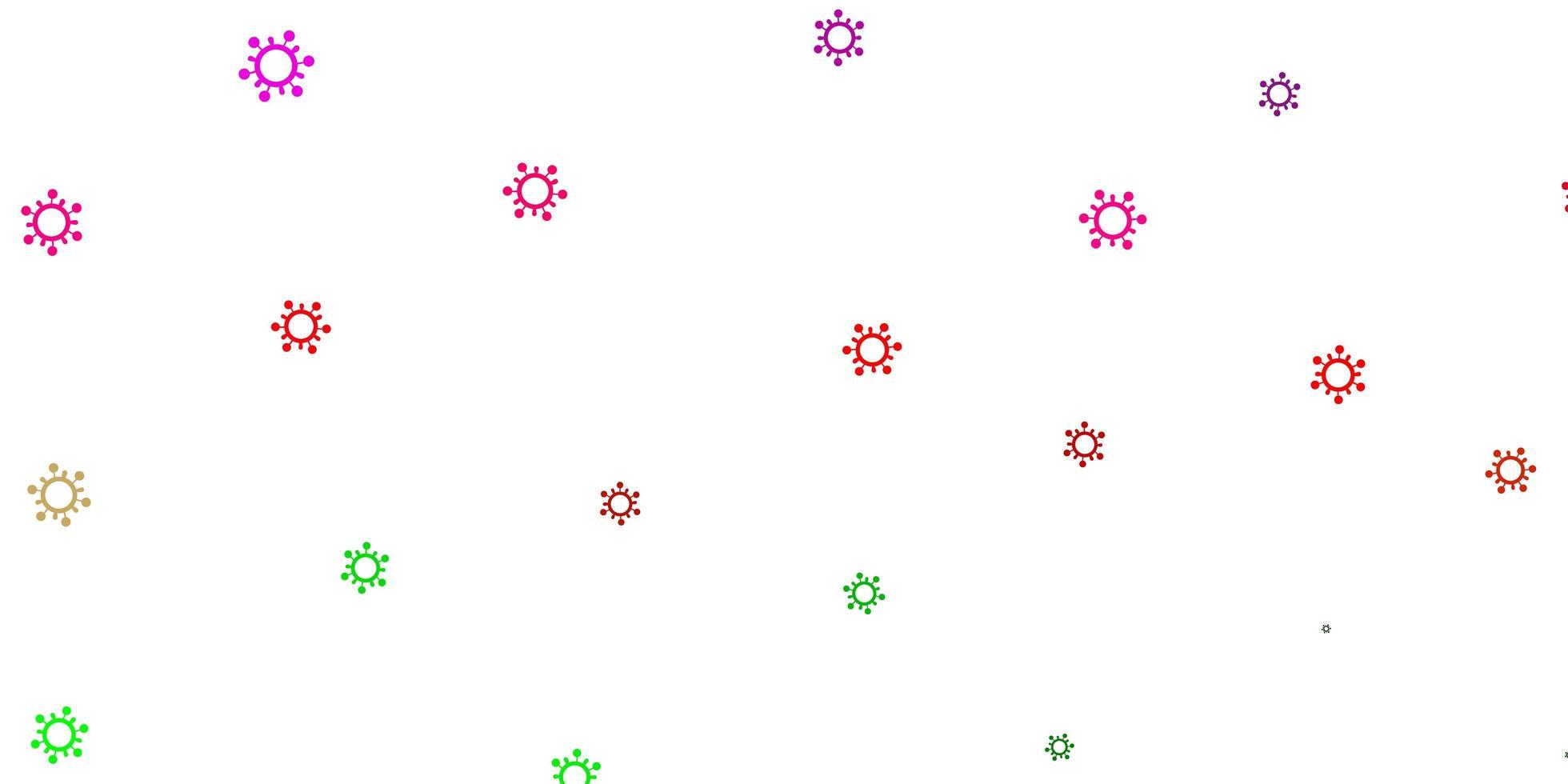 de fundo vector rosa claro, verde com símbolos covid-19.