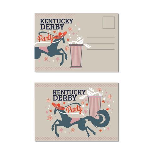 Cartão de aniversário das corridas de cavalos com hortelã Julep no Kentucky Derby Party vetor