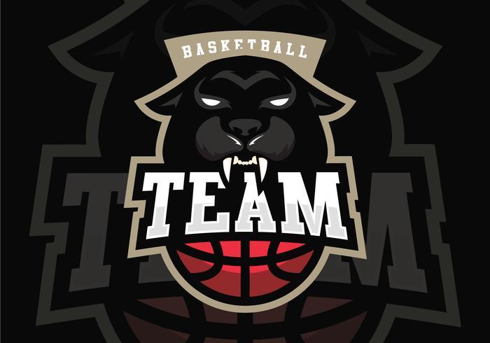 Mascote de basquete da pantera preta vetor