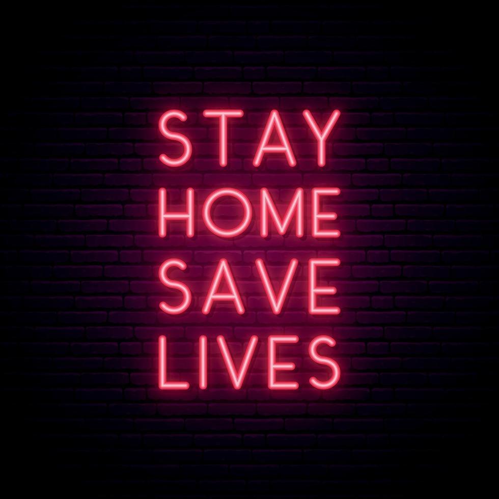 ficar em casa salvar vidas orçamento de néon para proteção contra coronavírus vetor