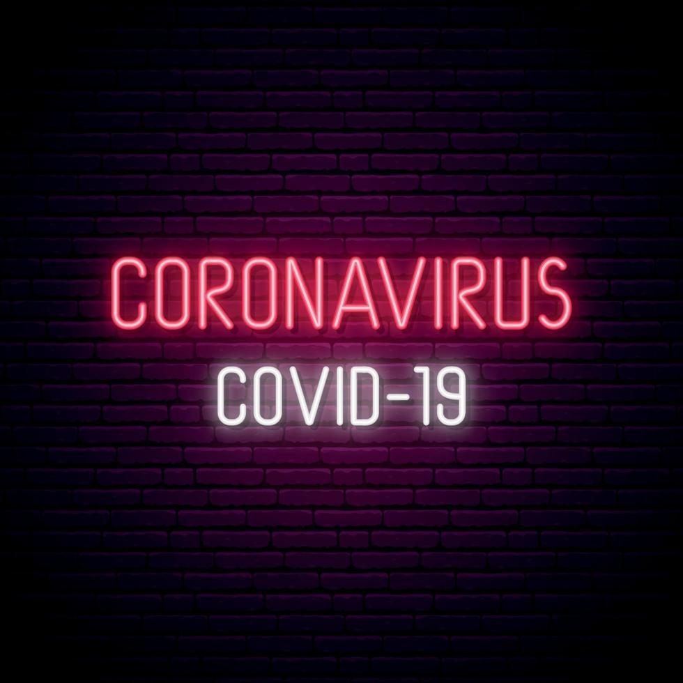 quadro indicador de néon de coronavírus. inscrição de luz brilhante covid-19 no fundo da parede de tijolo escuro. vetor