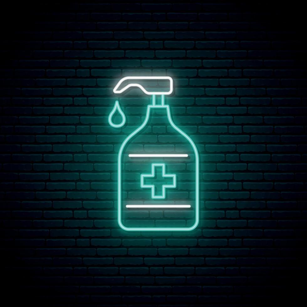 sinal de néon de garrafa desinfetante. conceito preventivo de coronavírus. vetor