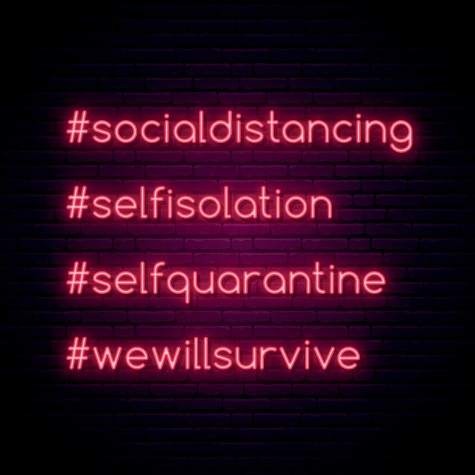 coronavírus proteger o conceito. conjunto de hashtags de auto-quarentena brilhantes. ilustração vetorial de tipografia em estilo neon vetor