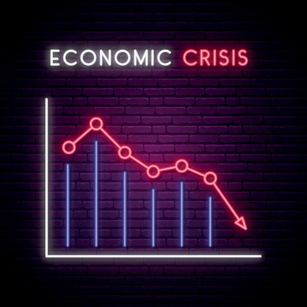 sinal de néon da crise econômica. gráfico com seta vermelha para baixo no fundo da parede de tijolo escuro. vetor