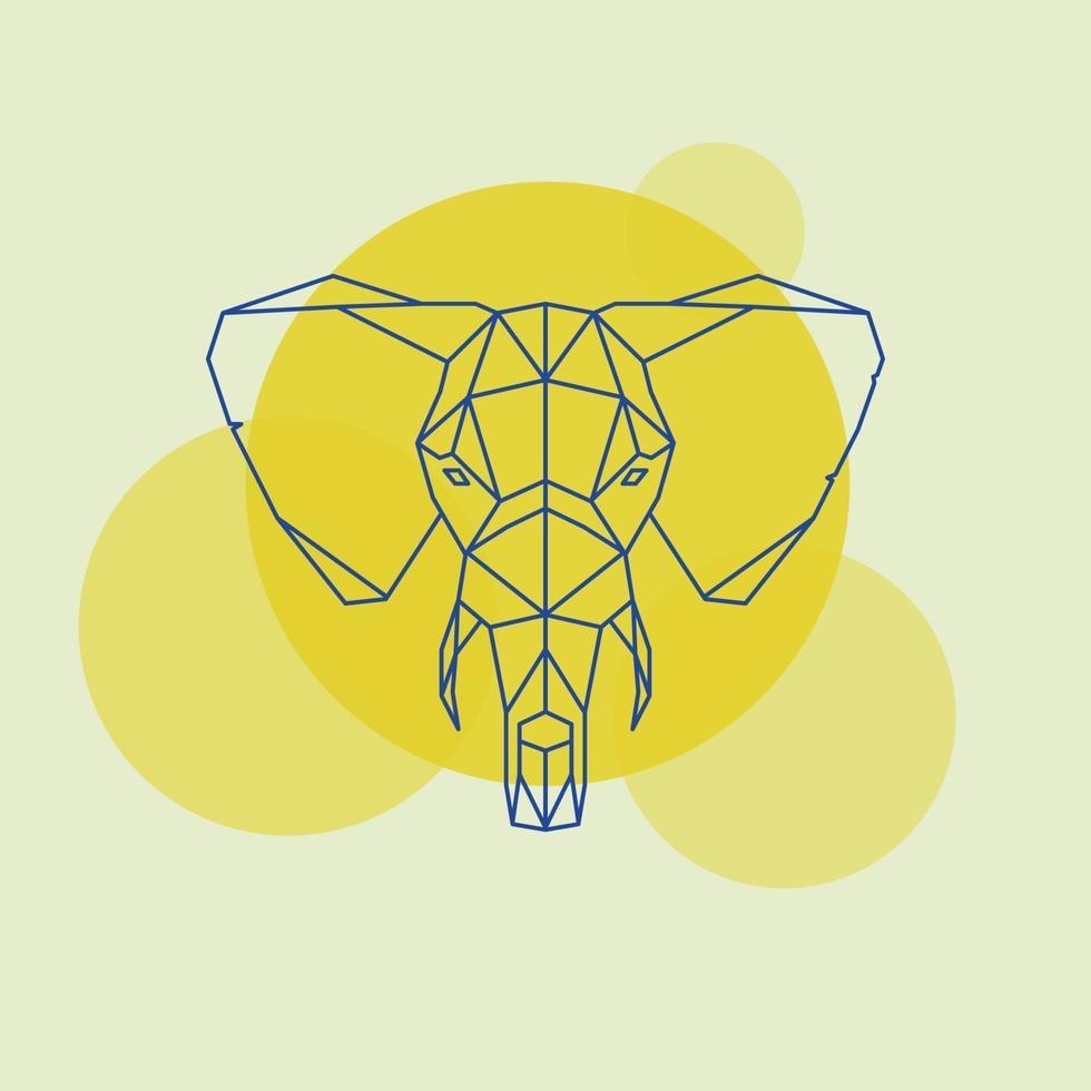 silhueta de linhas geométricas de cabeça de elefante isolada em um círculo amarelo. vetor