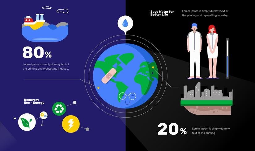 Água LimpaAdvocacy Infográfico Vector Ilustração Plana