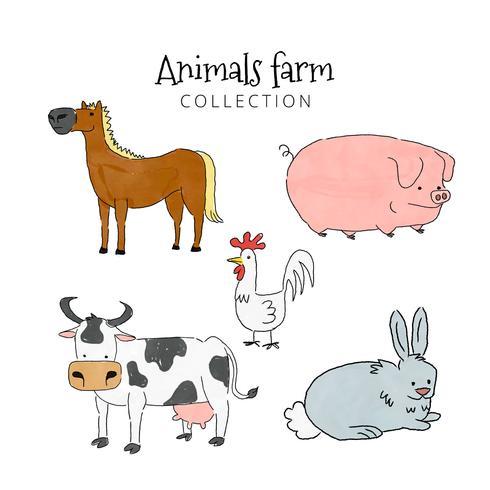 Coleção de fazenda de animais fofos vetor