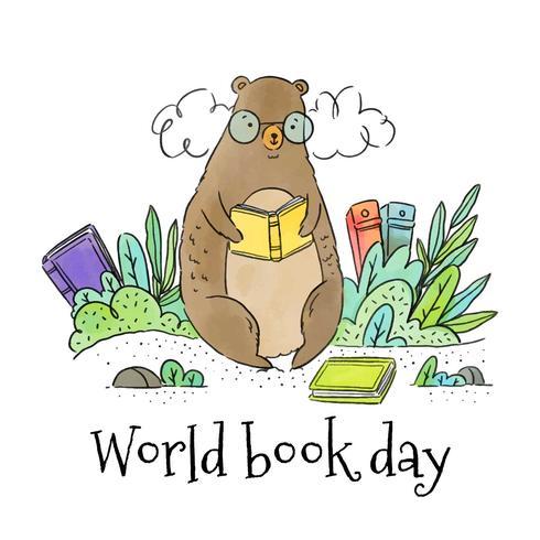 Fofo urso lendo livro sentado ao redor de folhas e livros vetor