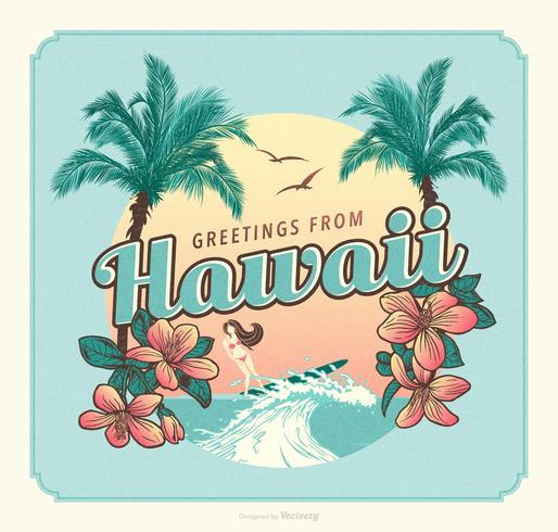Saudações do vetor de cartão postal retrô do Havaí