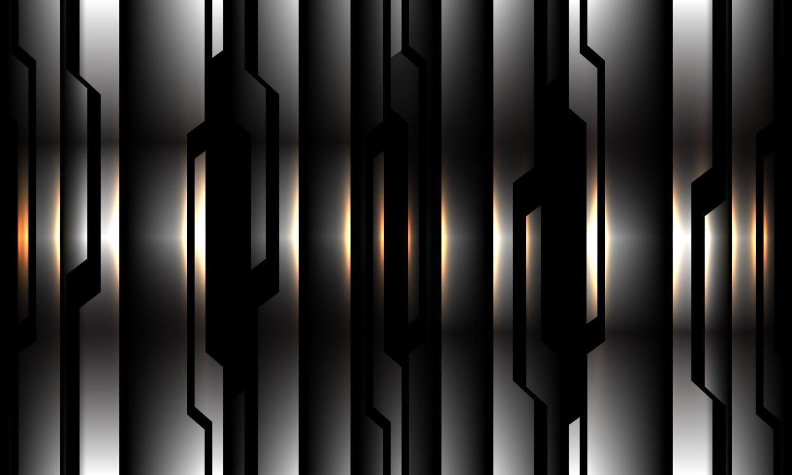 abstrato prata preto circuito padrão luz amarela design moderno futurista tecnologia fundo ilustração vetorial. vetor