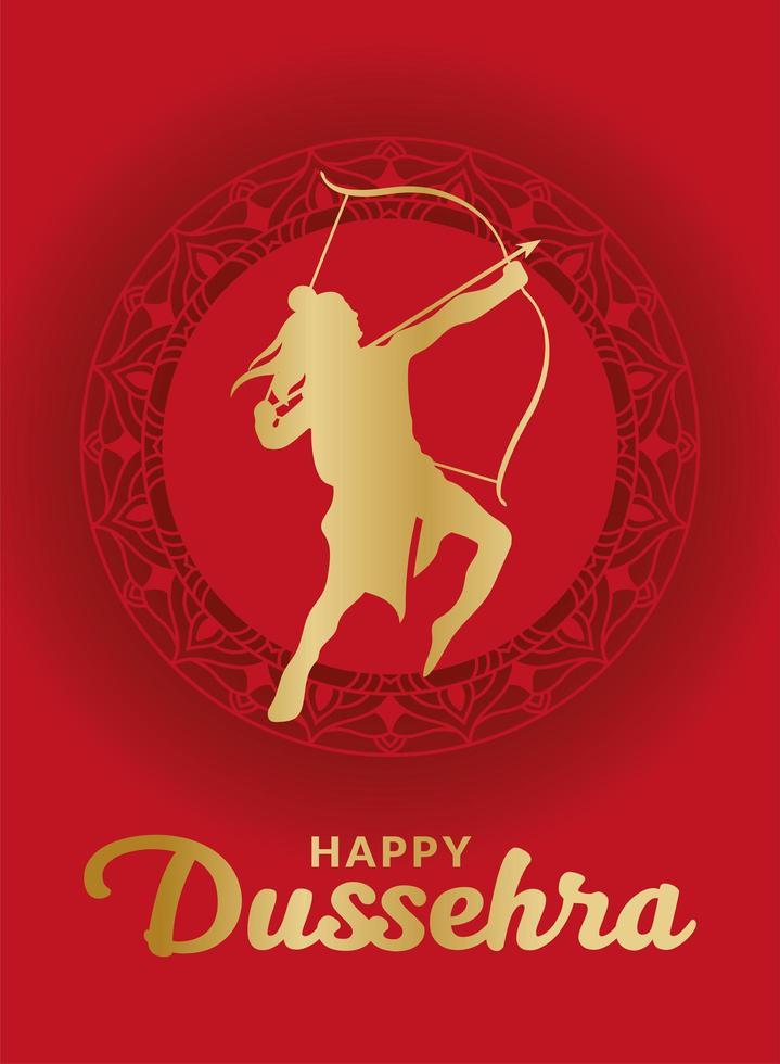 Dussehra feliz e Senhor Ram com arco e flecha no desenho de vetor de mandala vermelha