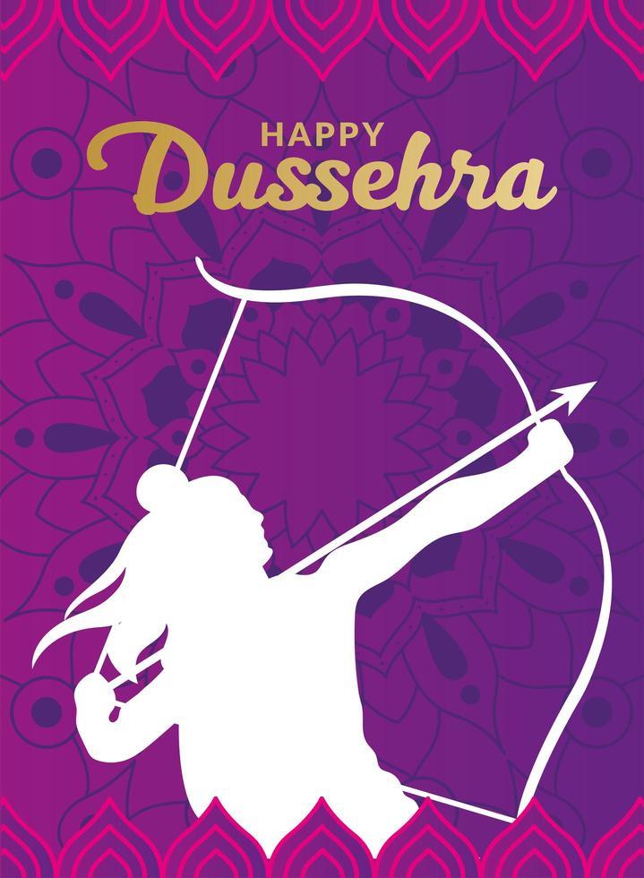 Dussehra feliz e Senhor Ram com desenho de silhueta branca de arco e flecha vetor