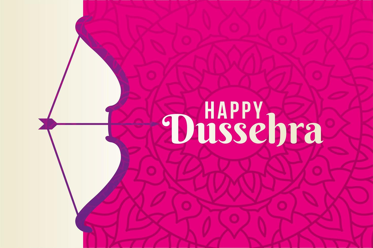 dussehra feliz e arco com flecha no desenho de vetor de fundo rosa mandala
