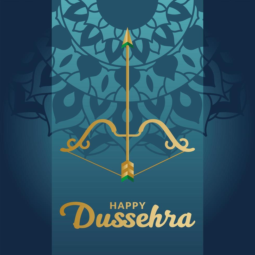 Dussehra feliz e arco com flecha no desenho de vetor de fundo azul mandala