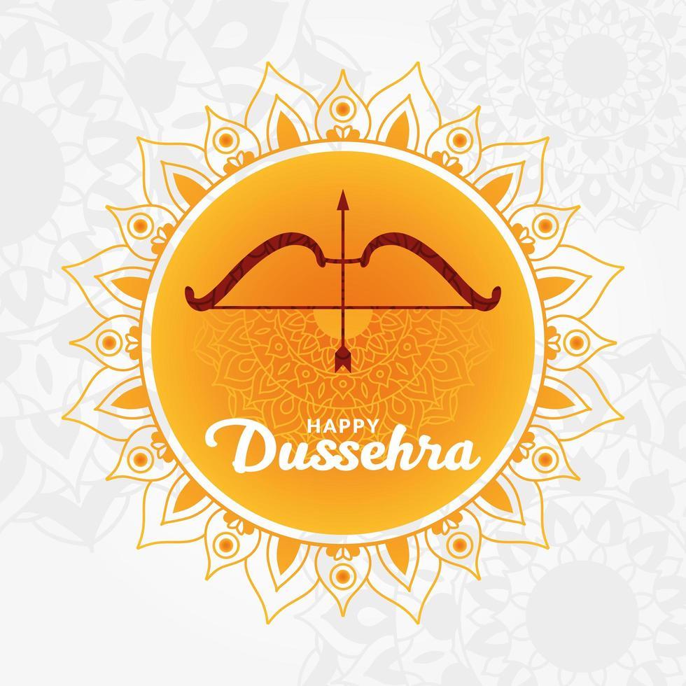 Dussehra feliz e arco com flecha no desenho do vetor mandala laranja