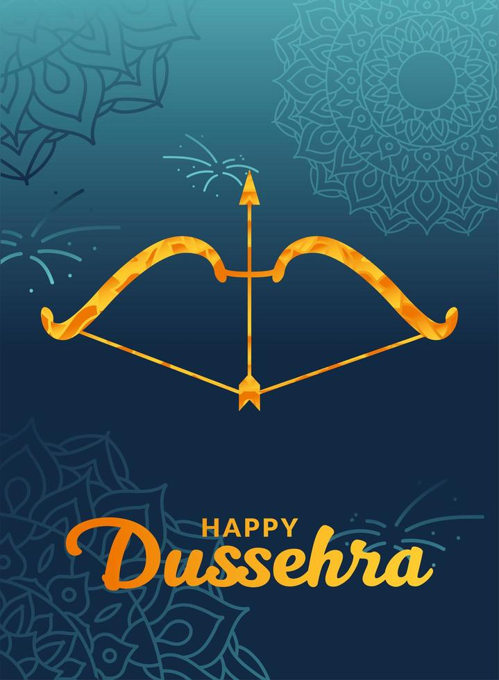 Dussehra feliz e arco com flecha no desenho de vetor de fundo de mandalas azuis