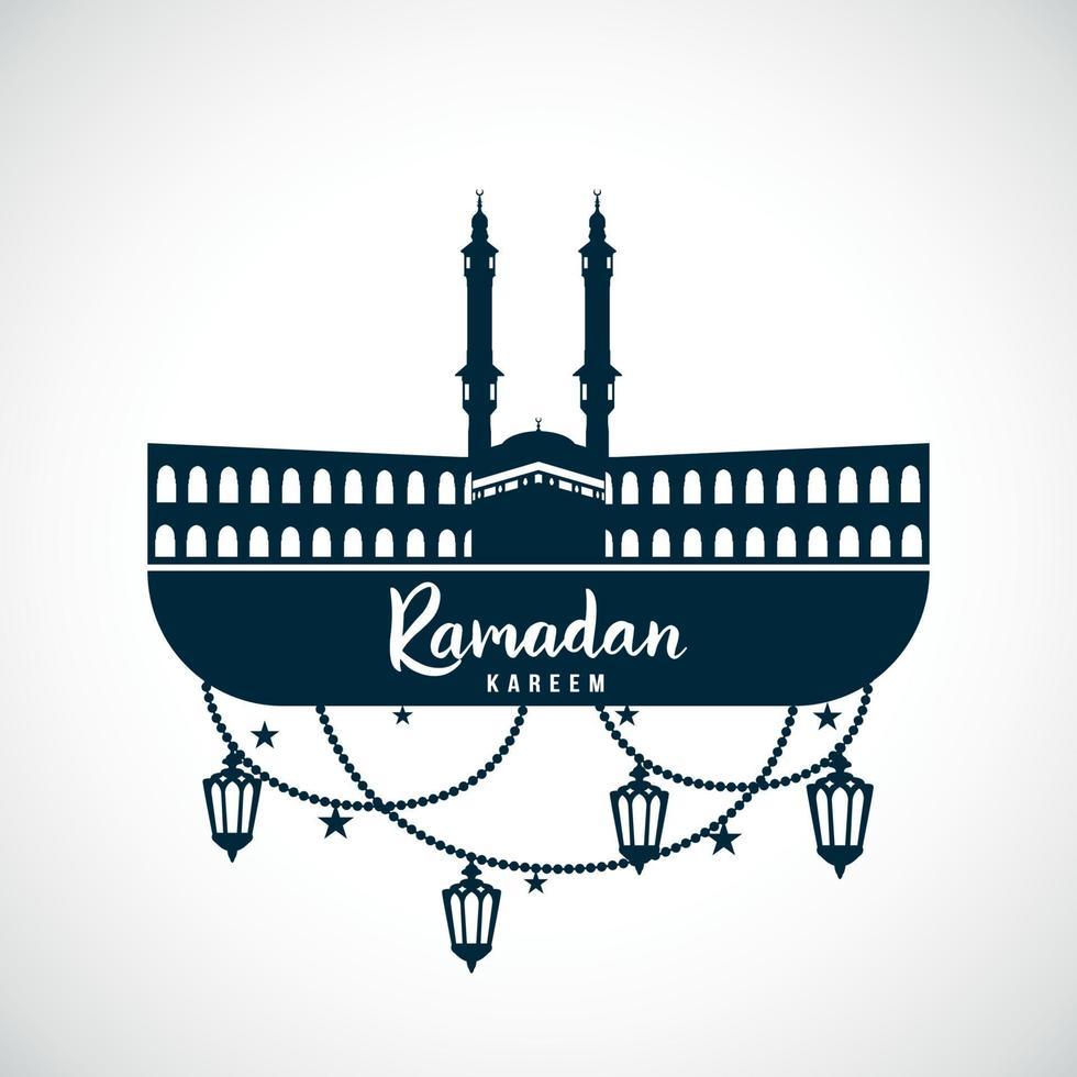 ramadan kareem. sinal da mesquita com lâmpadas penduradas. vetor