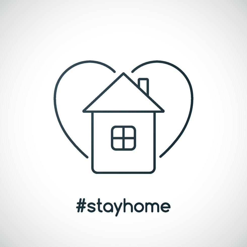 slogan fique em casa com casa e coração. sinal de alerta, recomendo ficar em casa. prevenir o surto de coronavírus. vetor
