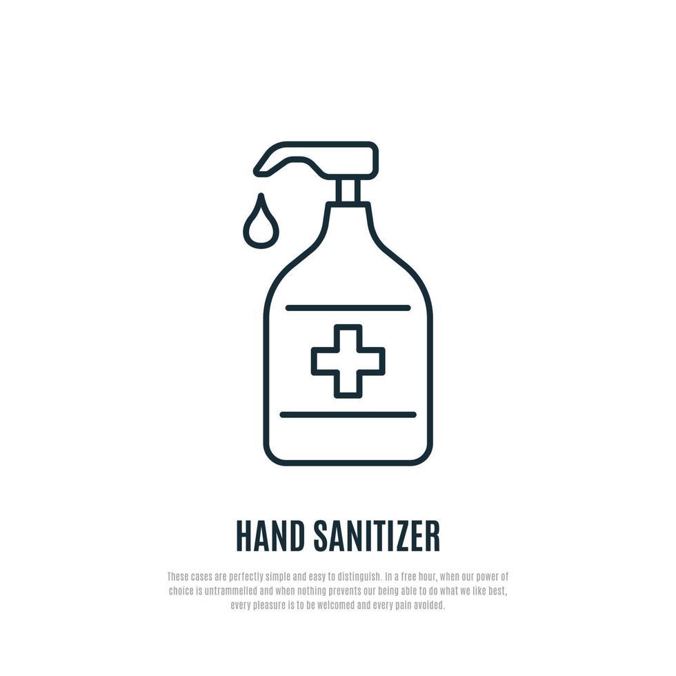 ícone da linha desinfetante para as mãos isolado no fundo branco. sinal de gel antibacteriano de mão. prevenção do coronavírus. vetor