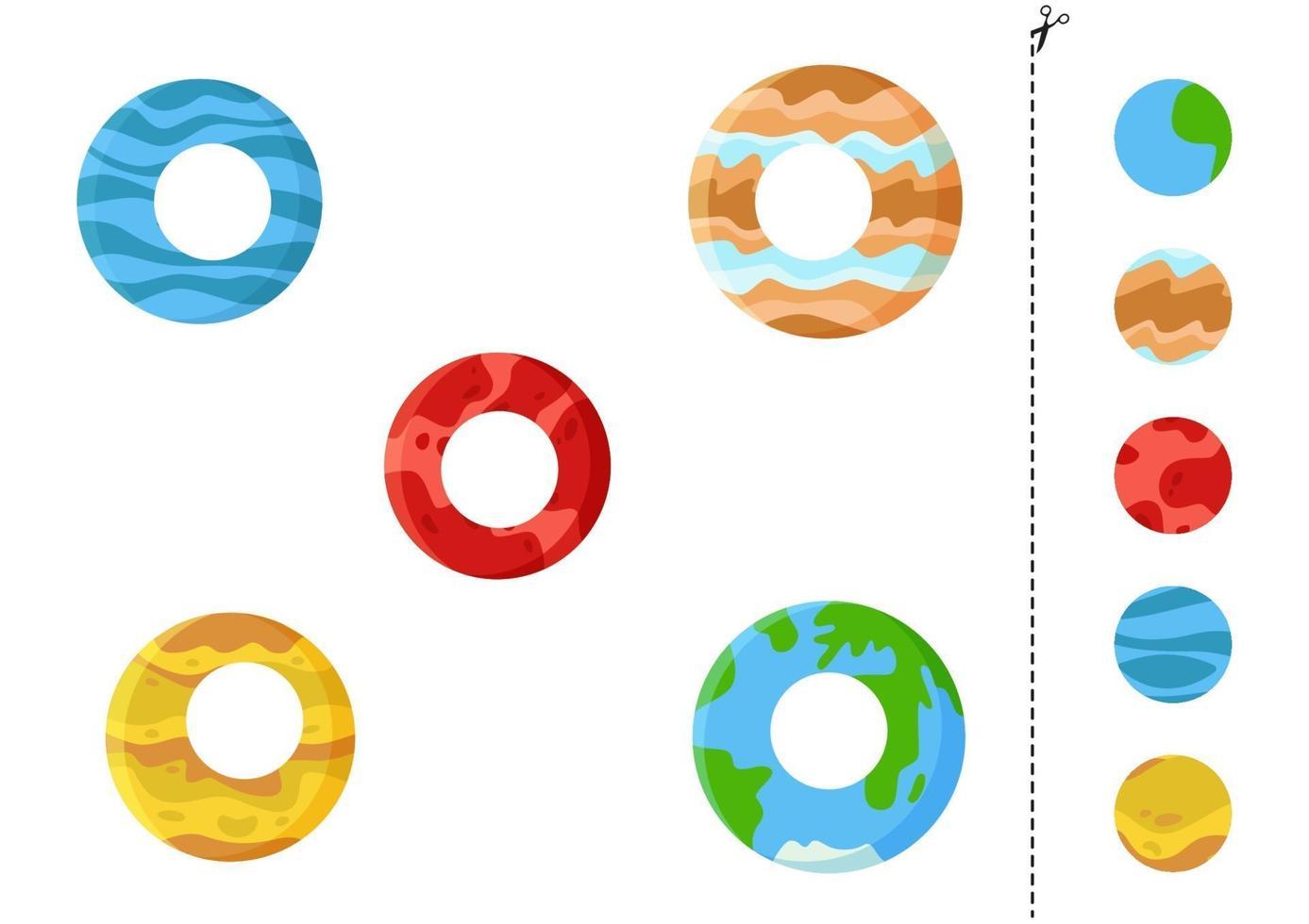 Corte e cole o jogo para crianças. planetas dos desenhos animados. vetor