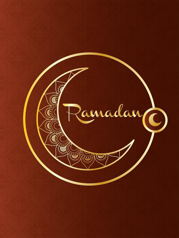 decoração lua dourada ramadan kareem vetor