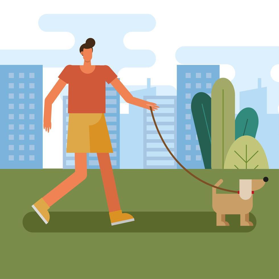 jovem passeando com o cachorro vetor