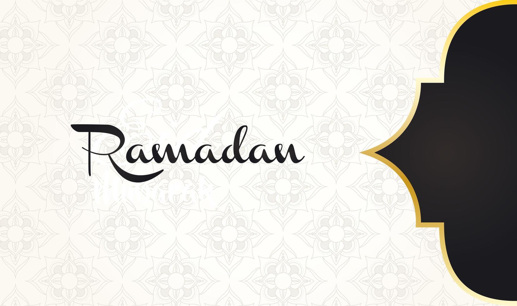 letras ramadan kareem com decoração de moldura dourada vetor