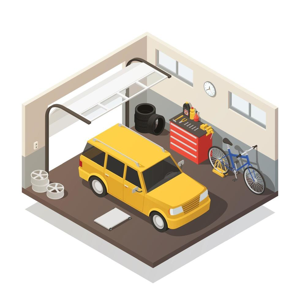 interior isométrico da garagem do carro vetor