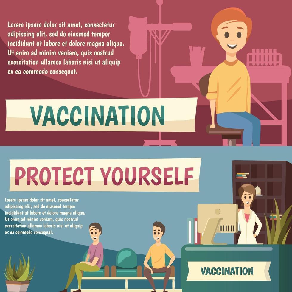 banners ortogonais de vacinação obrigatória vetor