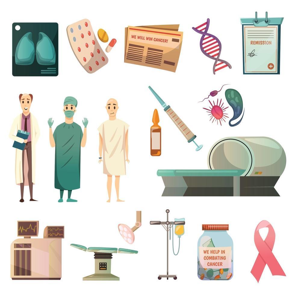 derrotar ícones ortogonais de câncer vetor
