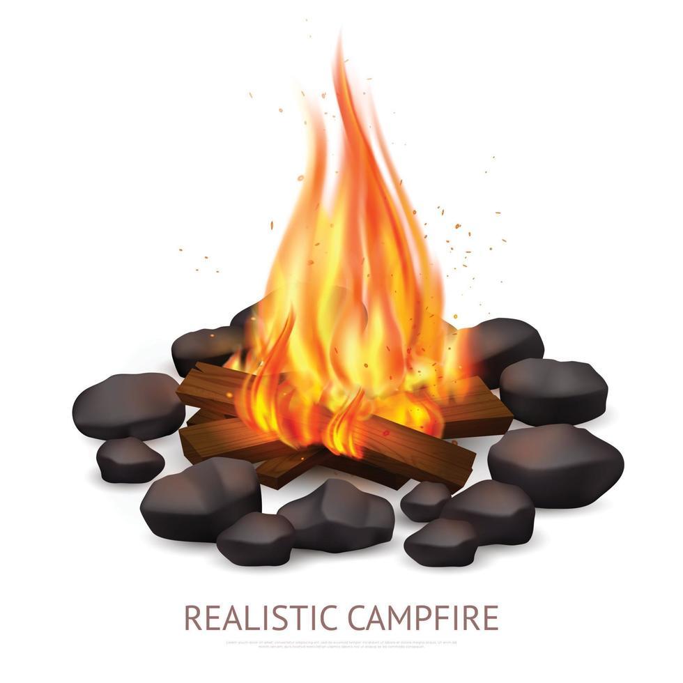 ilustração vetorial realista de fogueira vetor