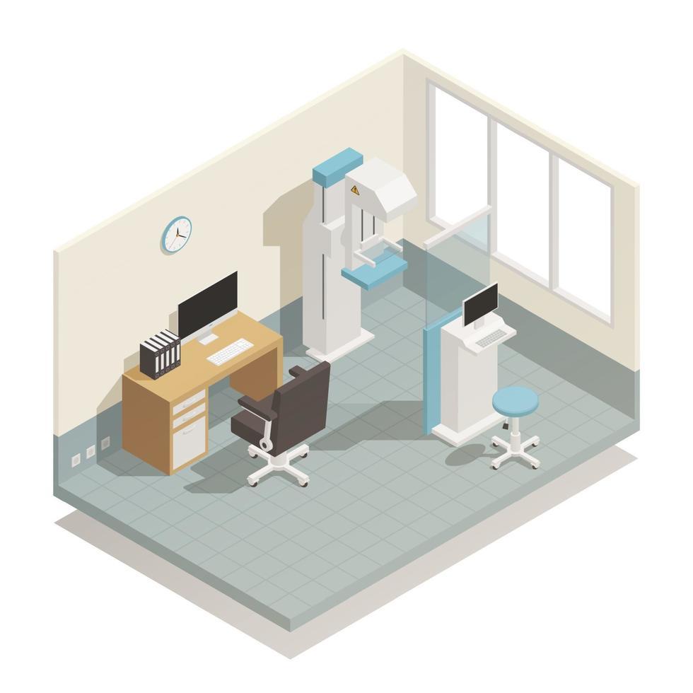 composição isométrica de equipamento médico vetor