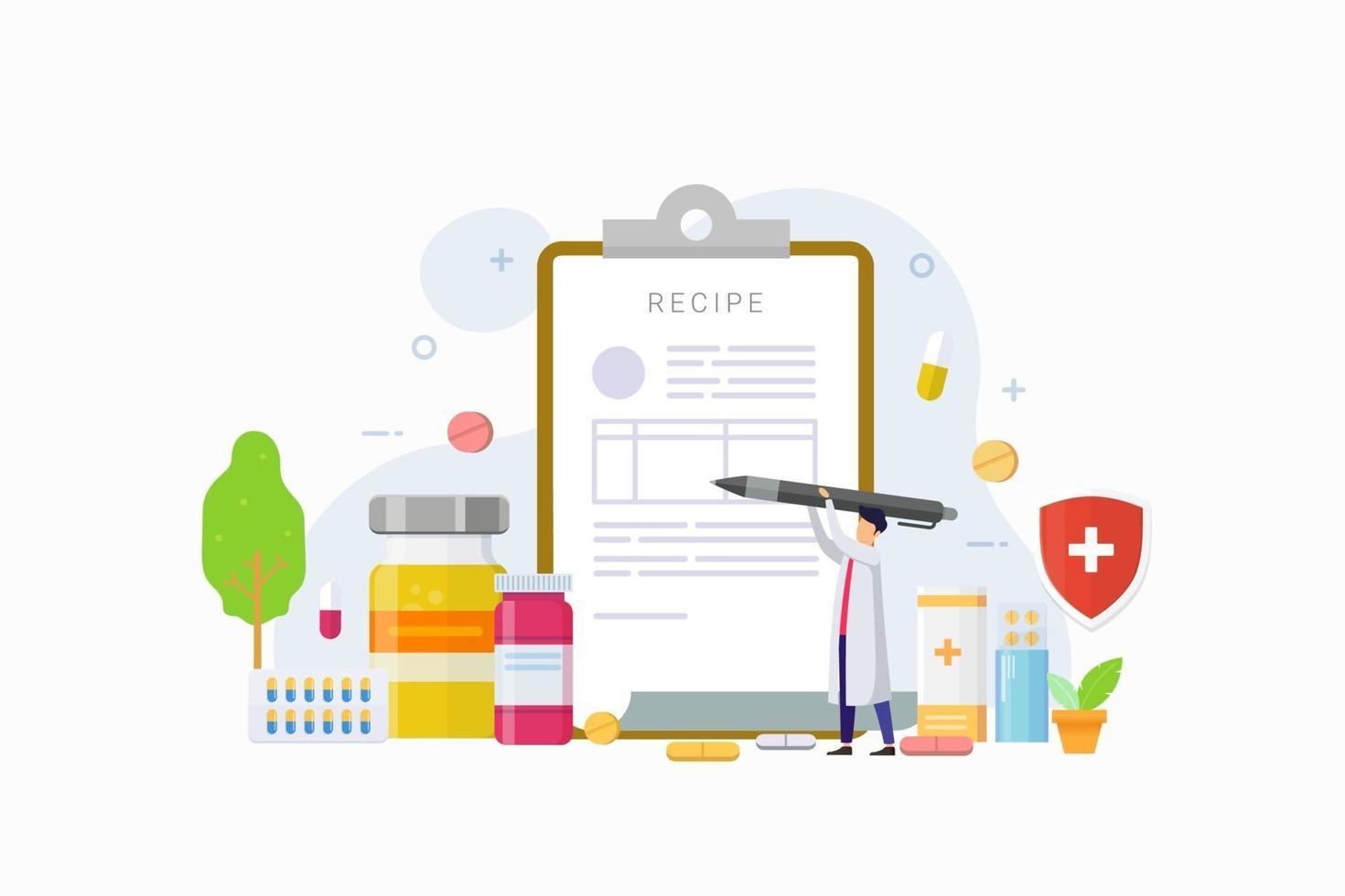 médico escreve a assinatura na receita para ilustração em vetor conceito design paciente