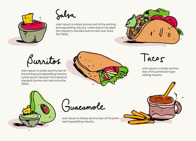 Menu de comida mexicana mão desenhada ilustração vetorial vetor