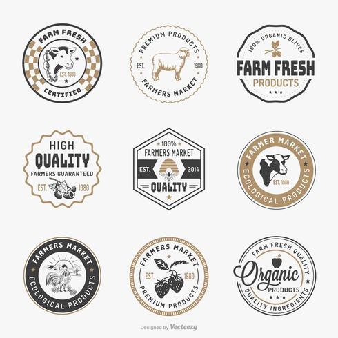 Agricultores mercado logotipo modelo Vector Set