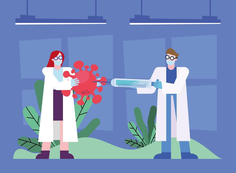 Projeto de pesquisa de vacina contra coronavírus com químicos vetor