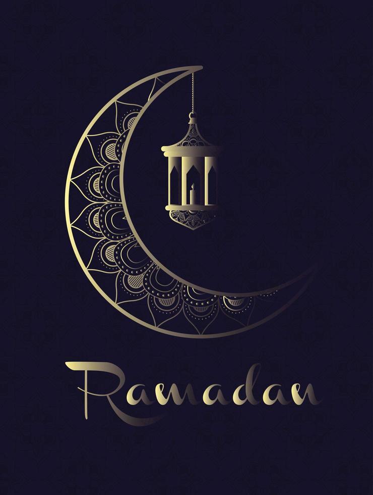 lua dourada e lanter pendurados ramadan kareem vetor