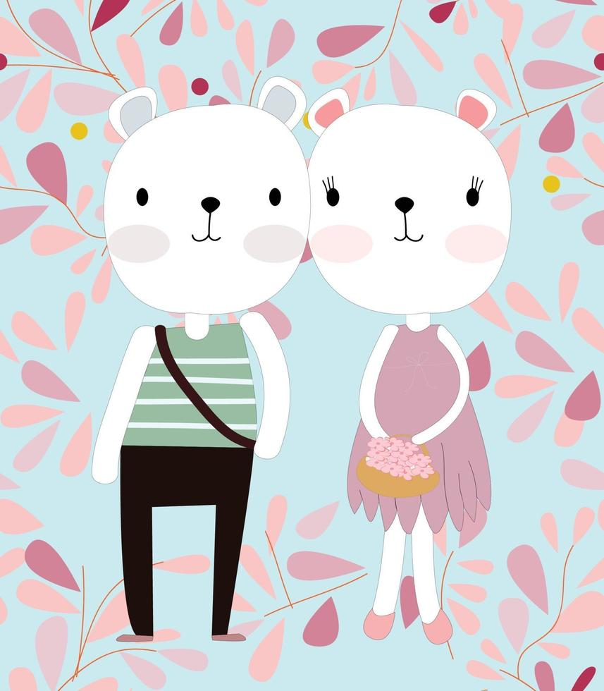 casal fofo urso de pelúcia em flor rosa primavera vetor