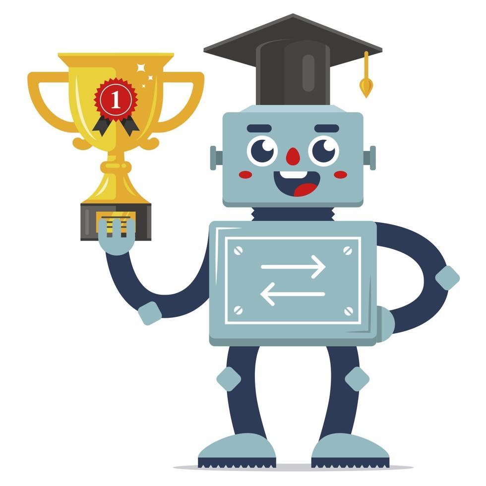 sucesso do robô na competição. mecanismo de autoaprendizagem. educação na escola. prêmio taça de ouro. ilustração vetorial plana. vetor