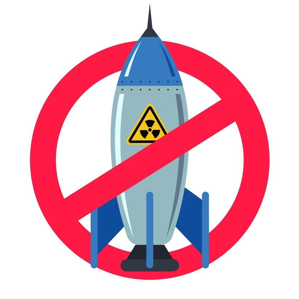 proibição de armas nucleares. sinal vermelho proibido. vida tranquila. bomba de ferro. ilustração em vetor plana