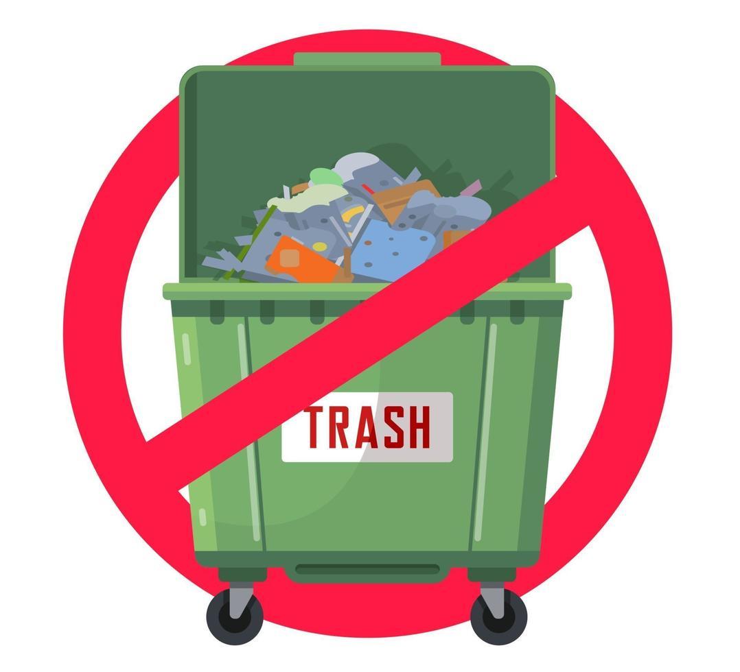 lata de lixo proibida. poluição da natureza. tanque verde. ilustração vetorial plana vetor