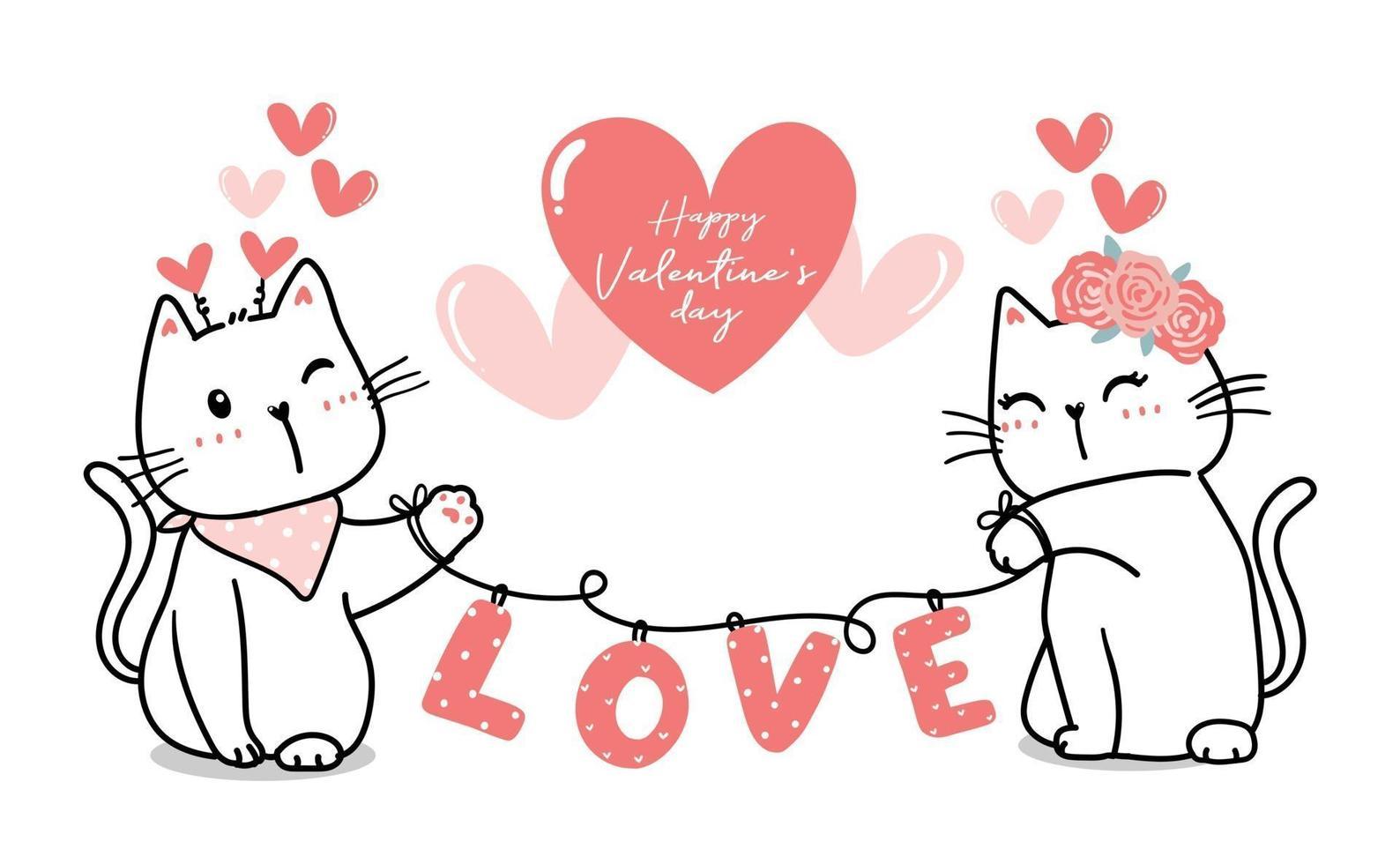 casal de gatos bonitos dos namorados com amor de coração, feliz dia dos namorados, contorno de desenho animado de gato bonito vetor de coração rosa para banner, material para impressão, cartão de felicitações