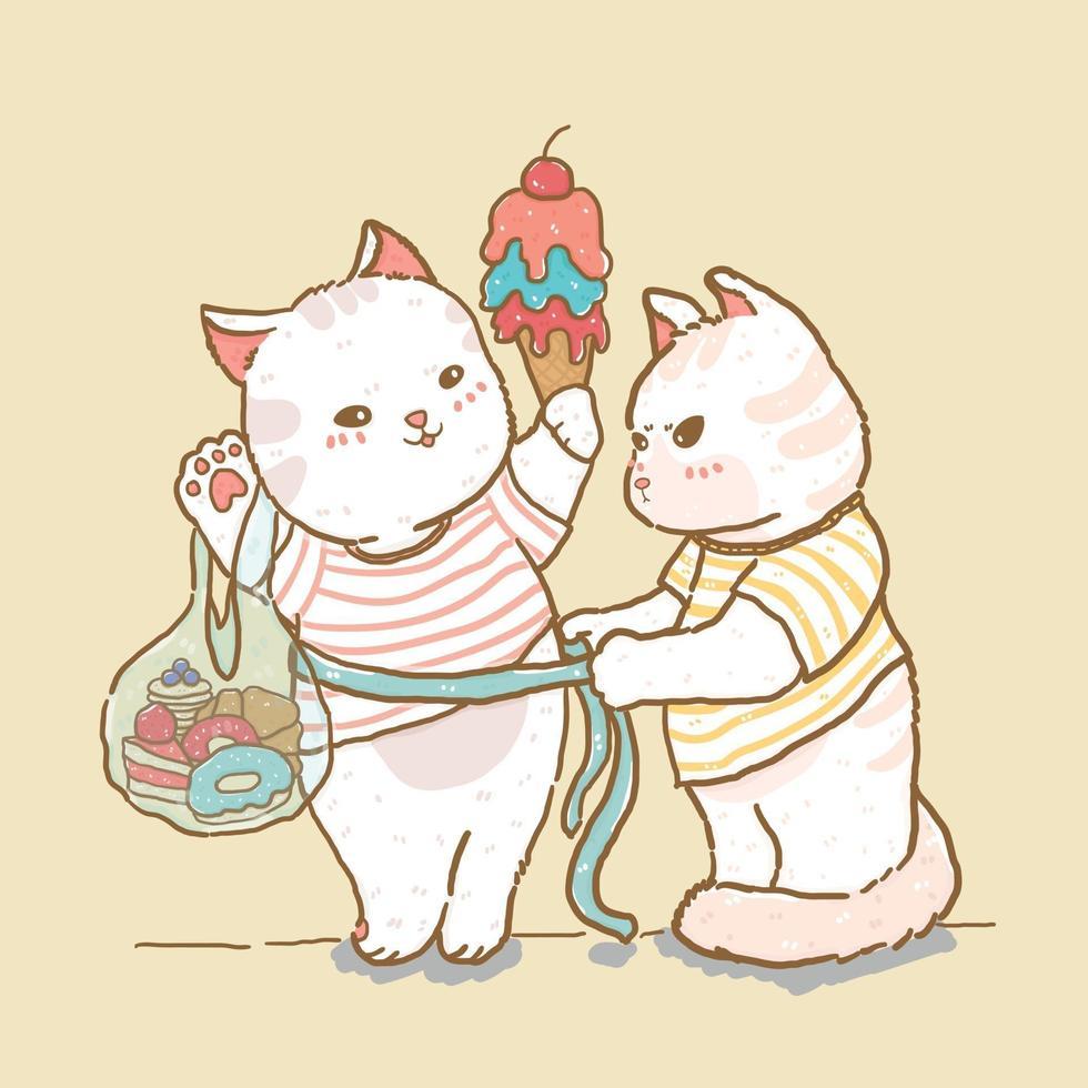 gato fofo medida senhora gata segurando sorvete e saco de doces, casal de gatos, desenho de doodle de linha de elemento de vetor plana, ideia para material de berçário infantil imprimir, cartão de felicitações