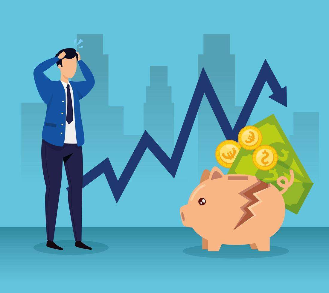 quebra do mercado de ações com empresário e dinheiro vetor