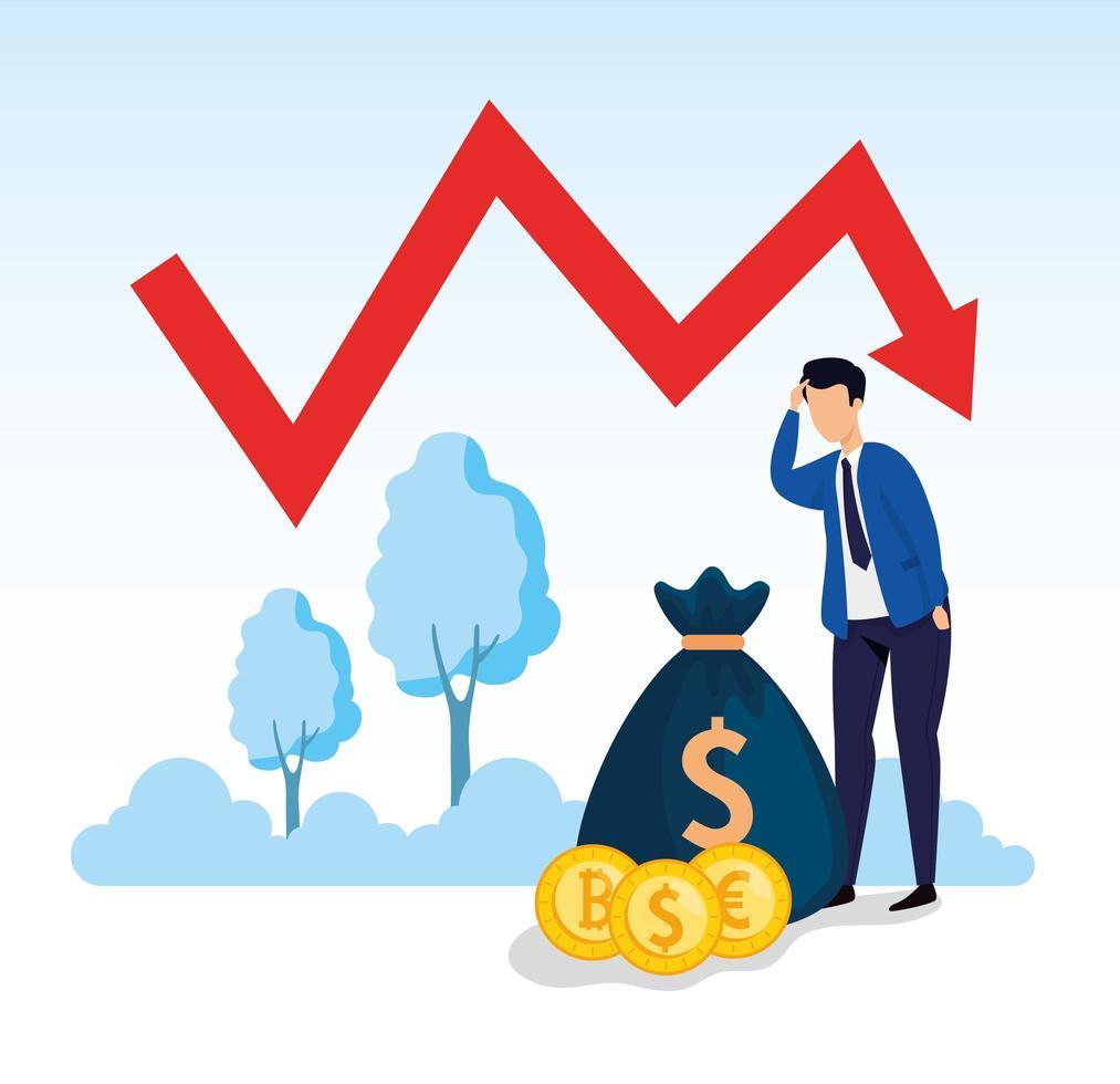 Quebra do mercado de ações com empresário preocupado e ícones vetor