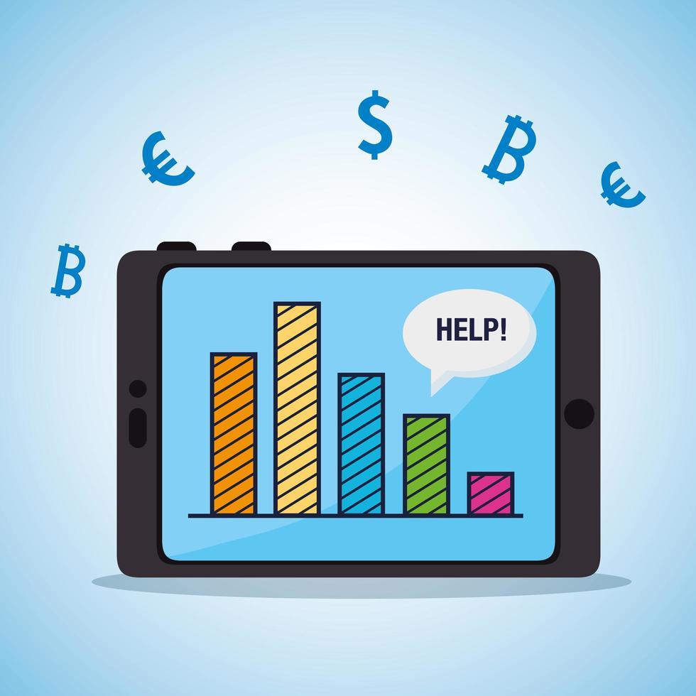 Quebra do mercado de ações e tablet com infográfico vetor