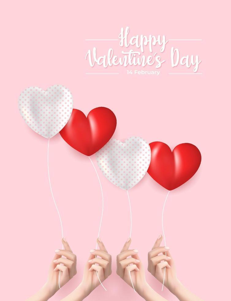banner do dia dos namorados. ilustração vetorial realista de uma mão segurando balões vetor