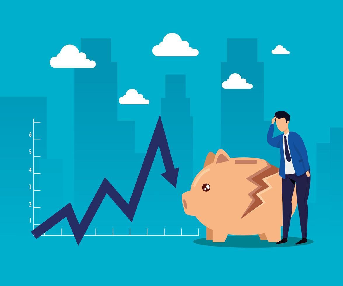 Quebra do mercado de ações com empresário e cofrinho vetor