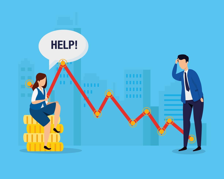Quebra do mercado de ações com empresários preocupados vetor
