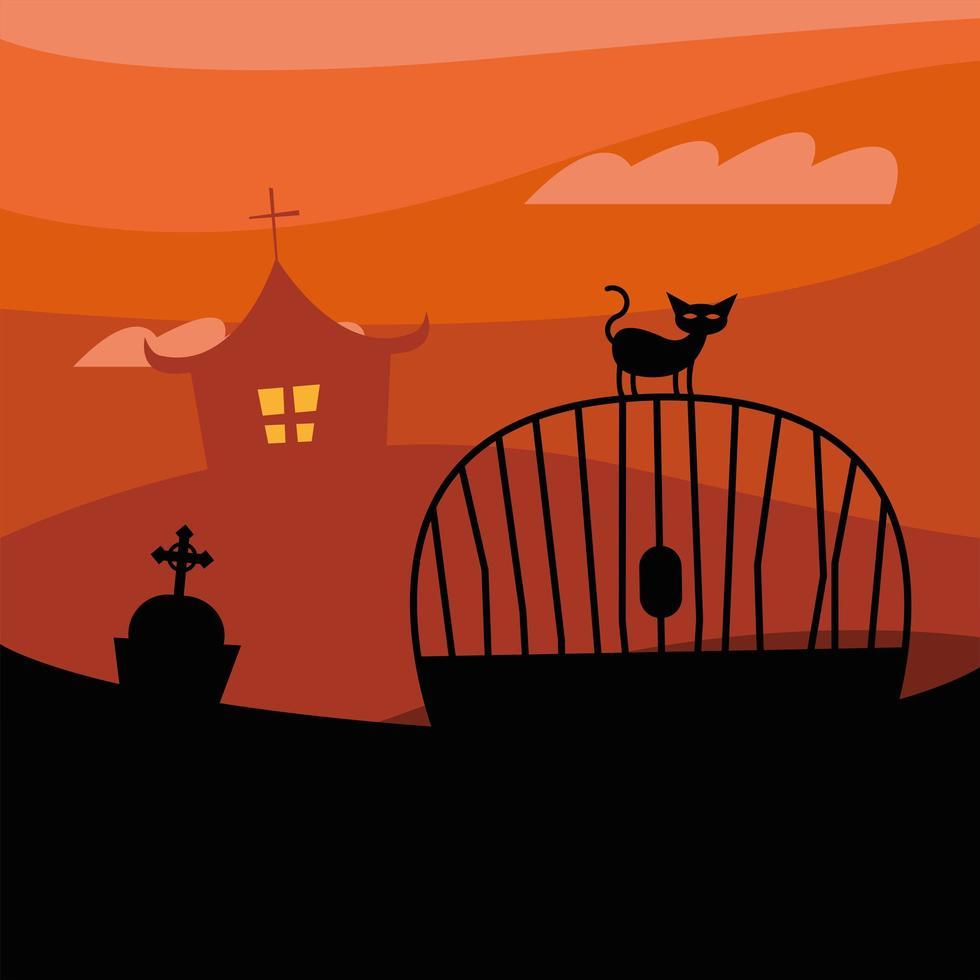 gato de halloween em um portão em frente a uma casa mal-assombrada à noite desenho vetorial vetor
